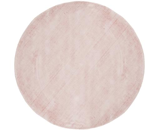 Alfombra redonda artesanal de viscosa Jane, Parte superior: 100%viscosa, Reverso: 100%algodón, Rosa, Ø 200 cm (Tamaño L)
