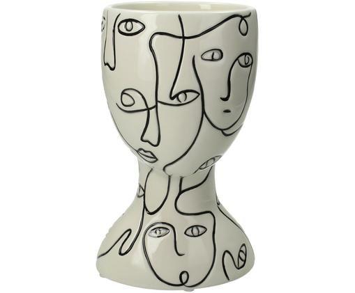 Übertopf Faces, Steingut, Gebrochenes Weiß, Schwarz, 12 x 20 cm