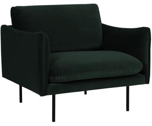 Fotel z aksamitu Moby, Tapicerka: aksamit (wysokiej jakości, Stelaż: lite drewno sosnowe, Nogi: metal malowany proszkowo, Ciemnyzielony, S 90 x G 90 cm
