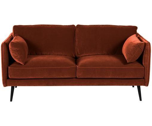 Sofa z aksamitu Paola (2-osobowa), Tapicerka: aksamit (poliester) 7000, Stelaż: masywne drewno świerkowe,, Nogi: drewno świerkowe, lakiero, Rudy, S 179 x G 95 cm