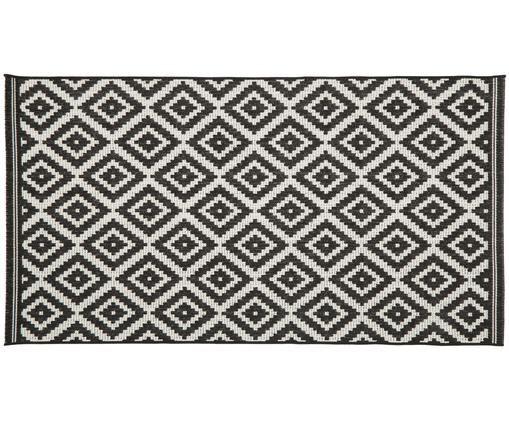 In- & outdoor vloerkleed Miami, Bovenzijde: polypropyleen, Onderzijde: polyester, Wit, zwart, B 80 x L 150 cm (maat XS)