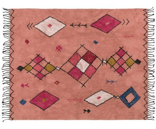 Tappeto in cotone con frange Bereber, Cotone, Rosso corallo, multicolore, Larg. 90 x Lung. 150 cm (taglia XS)