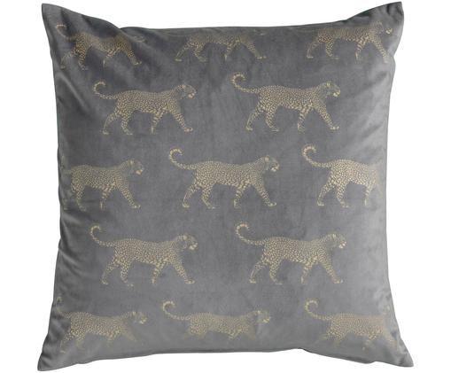 Samt-Kissen Leopard, mit Inlett, Grau, Goldfarben