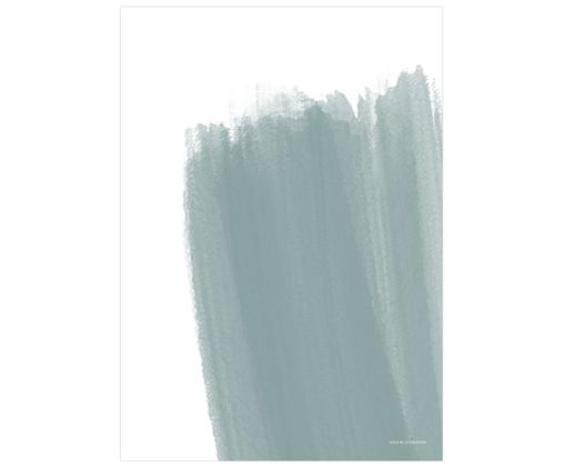 Poster Paint No.3, Digitaldruck auf Papier, matt  (180 g/m²), Weiß, Blau, 50 x 70 cm