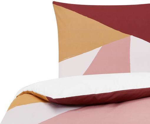 Perkal-Bettwäsche Colorblock mit geometrischem Muster, Webart: Perkal Fadendichte 180 TC, Rot, Rosa, Gelb, Cremeweiss, 135 x 200 cm