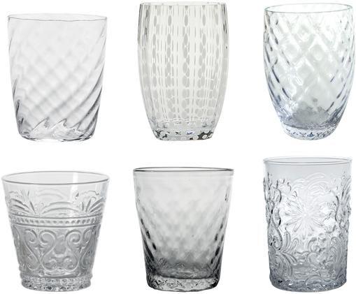 Bicchiere acqua in vetro Melting Pot Calm, set di 6, Vetro, Trasparente, Diverse dimensioni
