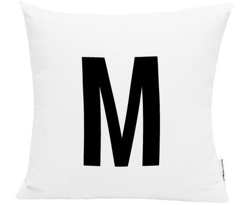 Kussenhoes Alphabet (varianten van A tot Z), Polyester, Wit met zwarte vlekken, Kussenhoes M