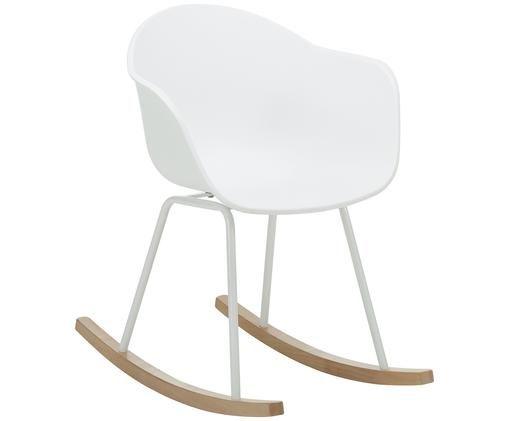 Fotel bujany  Claire, Nogi: metal malowany proszkowo, Stelaż: drewno bukowe Drewno posi, Siedzisko: biały Nogi: biały Stelaż: drewno bukowe, S 61 x G 80 cm