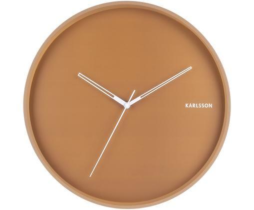 Zegar ścienny Hue, Metal powlekany, Karmelowy brązowy, odcienie srebrnego, Ø 40 cm