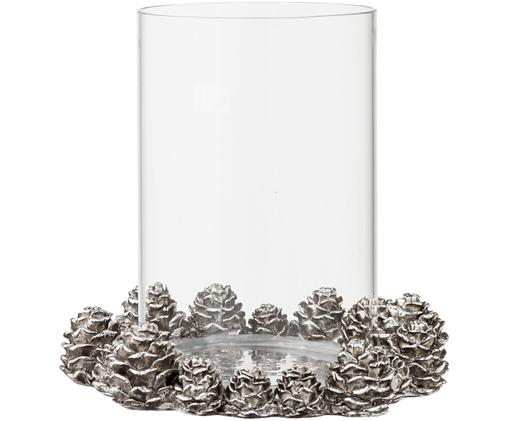 Portacandele natalizio in vetro con pigne Serafina, Portacandela: vetro, Argento, Ø 16 x A 16 cm