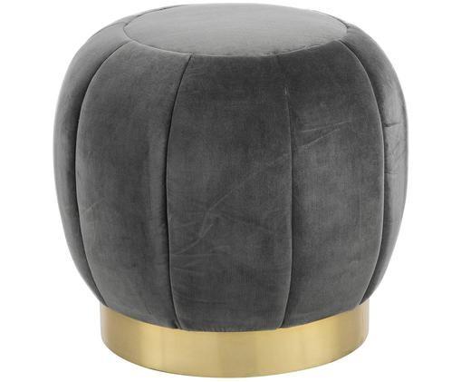 Samt-Hocker Hailee, Bezug: Baumwollsamt, Fuß: Metall, pulverbeschichtet, Grau, Goldfarben, Ø 50 x H 45 cm