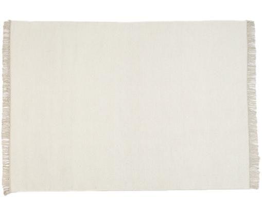 Handgewebter Wollteppich Rainbow in Offwhite mit Fransen, Teppich: Gebrochenes WeissFransen: Beige