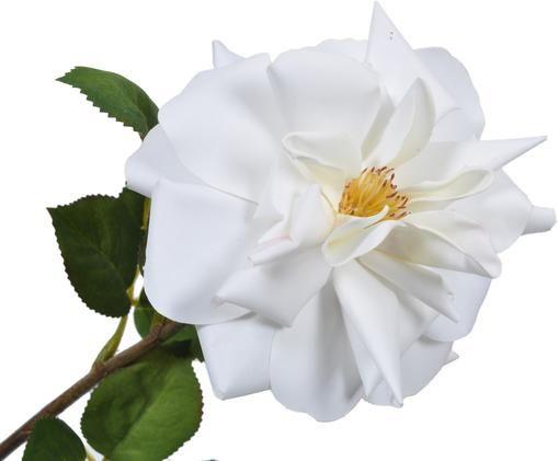 Rosa artificiale Alina, Gambo: metallo, Bianco, giallo, Lung. 54 cm