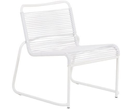 Sedia da esterno Lido, Struttura: alluminio verniciato, Rivestimento: nastro in PVC, Bianco, Larg. 64 x Alt. 70 cm