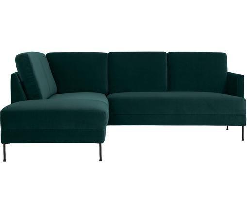 Sofa narożna z aksamitu Fluente, Tapicerka: aksamit (wysokiej jakości, Stelaż: lite drewno sosnowe, Nogi: metal lakierowany, Ciemny zielony, S 221 x G 200 cm