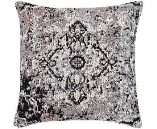 Federa arredo vintage Corinna, Retro: 100% cotone, Bianco crema, nero, rosa, blu, Larg. 45 x Lung. 45 cm