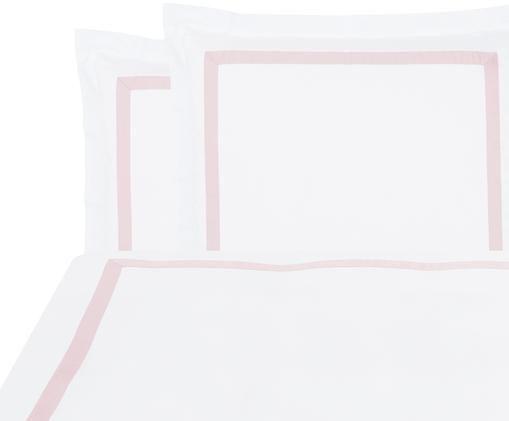 Baumwollsatin-Bettwäsche Nora in Weiß/Rosa, Weiß, Rosa, 240 x 220 cm