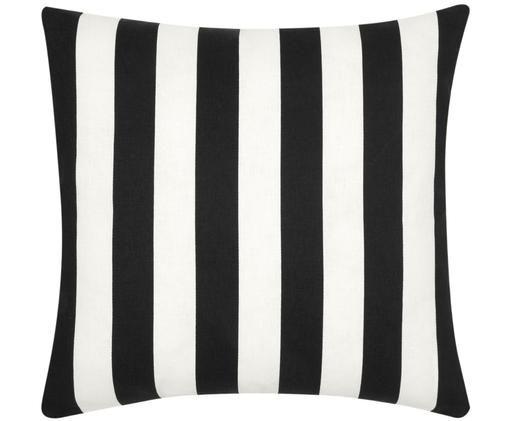 Gestreifte Kissenhülle Timon in Schwarz/Weiß, Baumwolle, Schwarz, Weiß, 45 x 45 cm