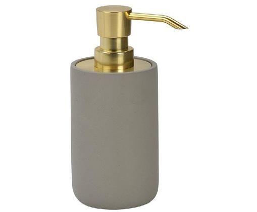 Dozownik do mydła Callin, Beton, Szary, odcienie złotego, Ø 7 x W 17 cm