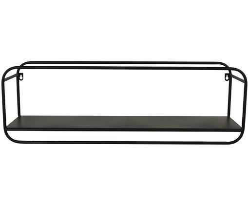 Metall-Wandregal Peku, Metall, pulverbeschichtet, Schwarz, 77 x 25 cm