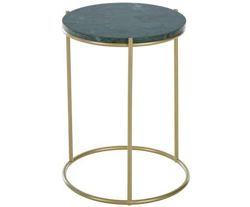 Tavolino in marmo rotondo Ella, Piano d'appoggio: marmo verde Struttura: dorato opaco