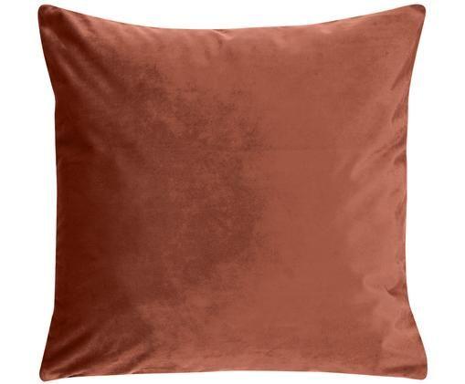 Poszewka na poduszkę z aksamitu Monet, 100% aksamit poliestrowy, Brązowy, S 40 x D 40 cm
