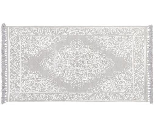 Alfombra artesanal de algodón con borlas Salima, Algodón, Gris claro, crema, An 70 x L 140 cm (Tamaño XS)