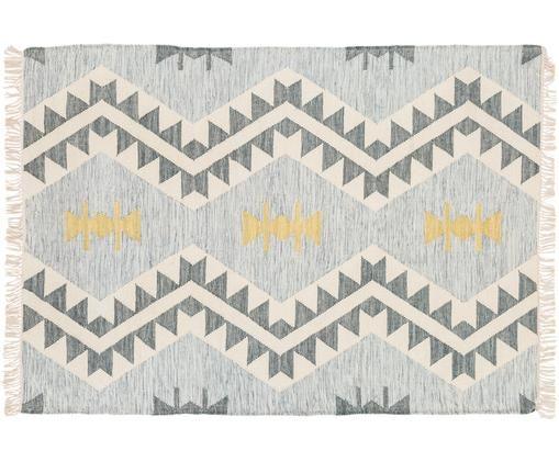 Tappeto in lana tessuto a mano Aarhus, Azzurro, crema, grigio scuro, giallo
