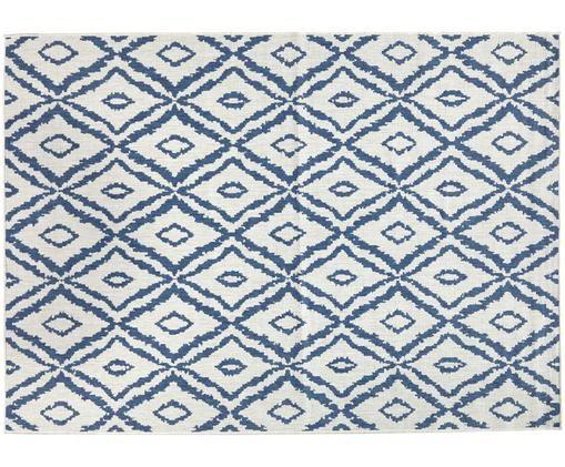 Tappeto reversibile per interni ed esterni Rio, Blu, color crema