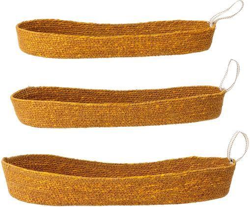 Opbergmanden Riena van zeegras, 3 stuks, Zeegras, Bruin geel, Verschillende formaten