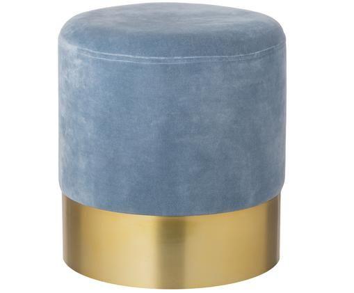 Fluwelen poef Harlow, Bekleding: katoen fluweel, Voet: gepoedercoat ijzer, Lichtblauw, goudkleurig, Ø 38 x H 42 cm