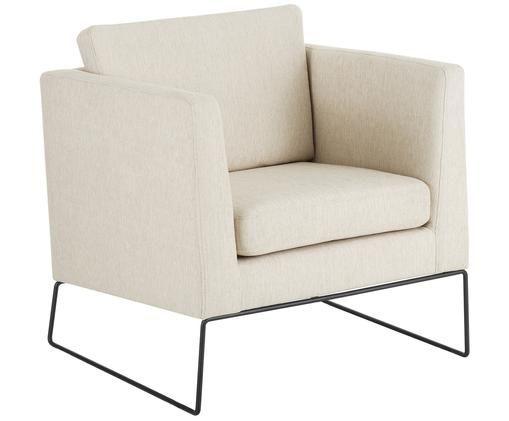 Klassischer Sessel Milo in Beige, Bezug: Hochwertiger Polyesterbez, Gestell: Kiefernholz, Beine: Metall, lackiert, Beige, 77 x 75 cm