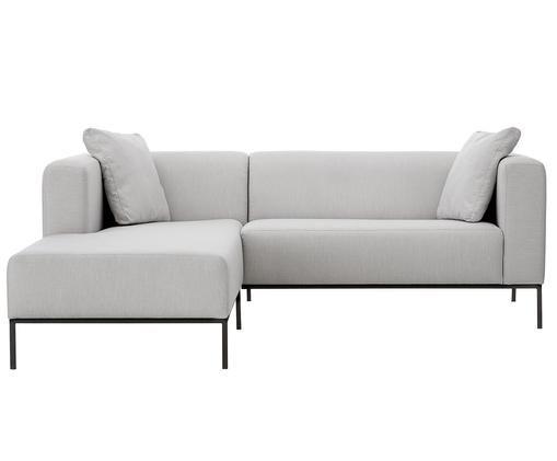 Hoekbank Carrie, Bekleding: polyester, Frame: spaanplaat, hardboard, mu, Poten: gelakt metaal, Grijs, B 241 x D 200 cm