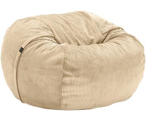Corduroy zitzak Velours, Bekleding: 88% nylon, 12% polyester, Beige, Ø 110 x H 70 cm