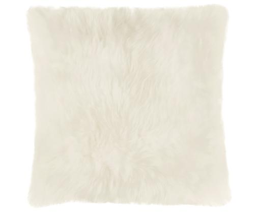 Federa arredo in pelliccia di pecora Oslo, liscia, Fronte: avorio Retro: avorio