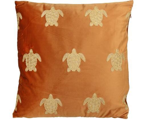 Haftowana poduszka z aksamitu z wypełnieniem Turtle, Aksamit, Pomarańczowy, odcienie złotego, S 45 x D 45 cm