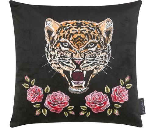 Dwustronna poszewka na poduszkę z aksamitu Deluxe Roses, Aksamit poliestrowy, nadruk, Czarny, blady różowy, zielony, brązowy, biały, S 40 x D 40 cm