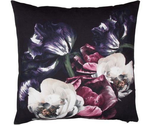 Poszewka na poduszkę Flower, Bawełna, Czarny, wielobarwny, S 50 x D 50 cm