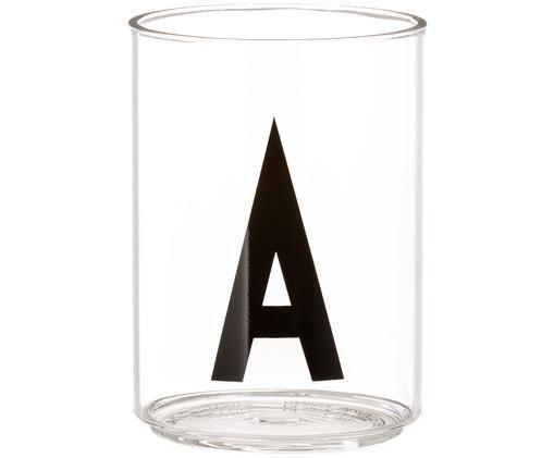Wasserglas Personal mit Designletters (Varianten von A bis Z), Borosilikatglas, Transparent, Schwarz, Wasserglas A
