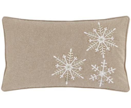 Kissenhülle Frosty mit Schneeflocken Stickerei und goldenen Perlen, Vorderseite: Taupe, Weiß, Goldfarben Rückseite: Taupe