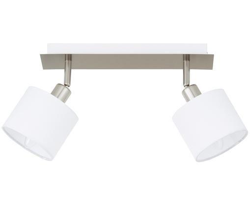 Deckenleuchte Casper, Baldachin: Metall, vernickelt, Silberfarben,Weiß, 32 x 7 cm