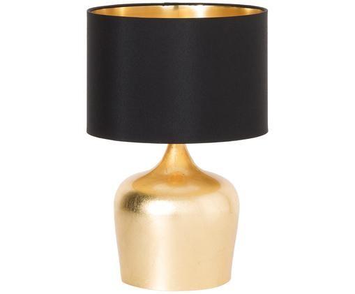 Ethno-Tischleuchte Manalba, Lampenschirm: Polyester, Kunststoff, Lampenfuß: Stahl, lackiert, Schwarz, Goldfarben, Ø 25 x H 38 cm