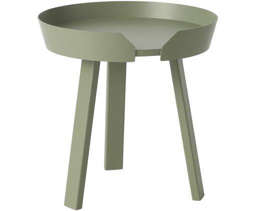 Tavolino rotondo in legno Around Small, Legno di frassino, verniciato, Polvere verde, Ø 45 x Alt. 46 cm