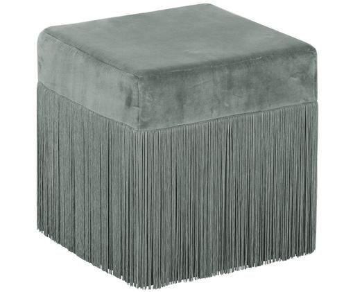Puf z frędzlami Alison, Tapicerka: aksamit bawełniany, Szałwiowa zieleń, S 40 x W 40 cm