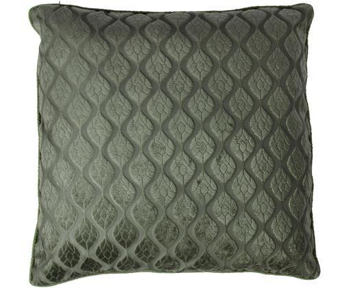 Cuscino Pavel, con imbottitura, Rivestimento: poliestere, Verde scuro, Larg. 50 x Lung. 50 cm