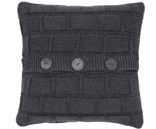 Federa arredo lavorata a maglia Clara, 100% cotone Bottoni in legno, Grigio scuro, melangiato, Larg. 40 x Lung. 40 cm