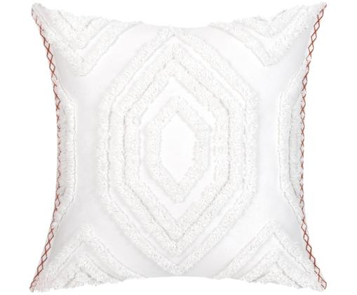 Poszewka na poduszkę Faye, Biały, brązowo pomarańczowy, S 50 x D 50 cm