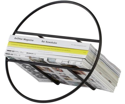Stojak na czasopisma Hoop, Metal lakierowany, Czarny, Ø 35 x 21 cm