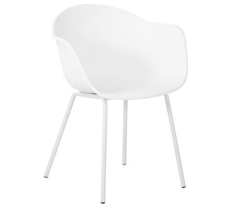 Kunststoff-Armlehnstuhl Claire mit Metallbeinen, Sitzschale: Kunststoff, Beine: Metall, pulverbeschichtet, Weiss, B 61 x T 58 cm