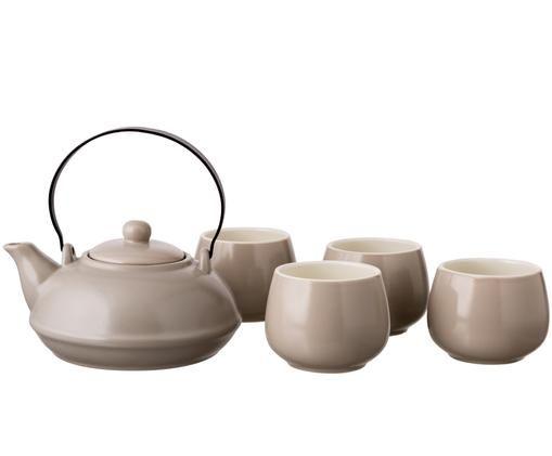 Teeservice Sencha, 5-tlg., Griff: Stahl, lackiert, Taupe, Sondergrößen